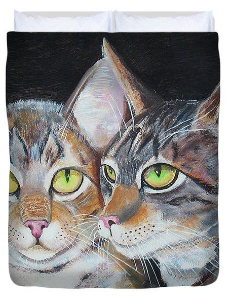 Scheming Cats Duvet Cover