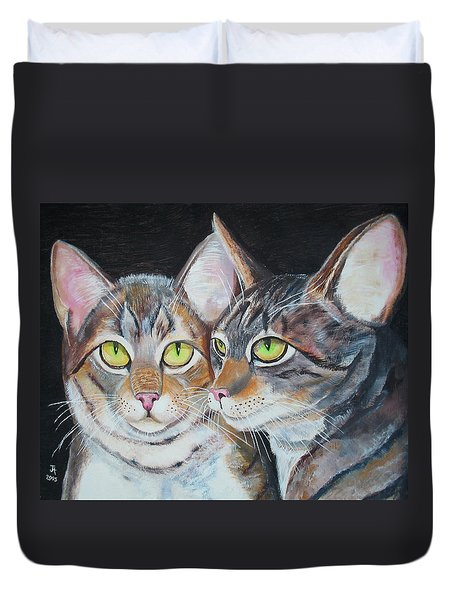 Scheming Cats Duvet Cover