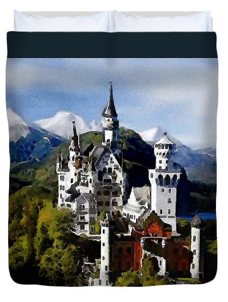 Duvet Cover featuring the painting Schengen Castle by Jann Paxton