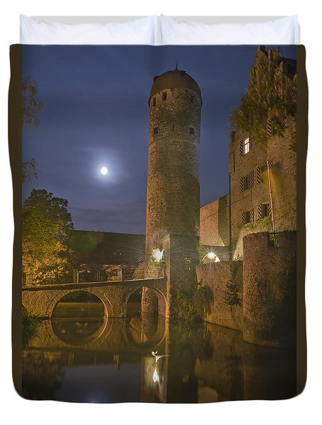 Schloss Sommersdorf By Moonlight Duvet Cover