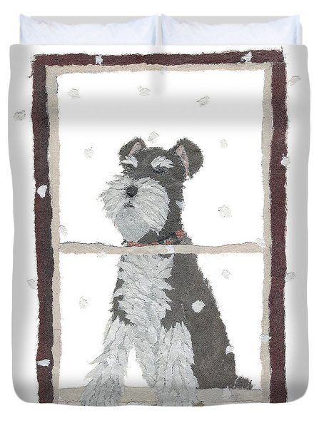 Schnauzer Art Hand-torn Newspaper Collage Art Duvet Cover by Keiko Suzuki Bless Hue