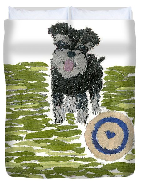 Schnauzer Art Hand-torn Newspaper Collage Art Dog Portrait Duvet Cover by Keiko Suzuki Bless Hue