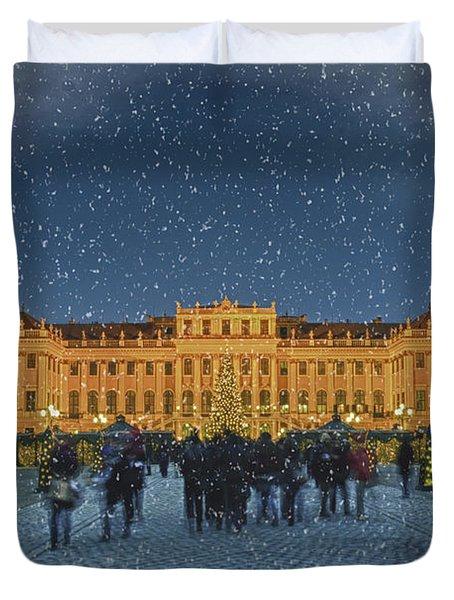 Schonbrunn Christmas Market Duvet Cover by Joan Carroll