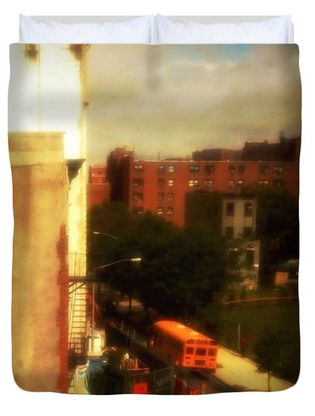 Duvet Cover featuring the photograph School Bus - New York City Street Scene by Miriam Danar