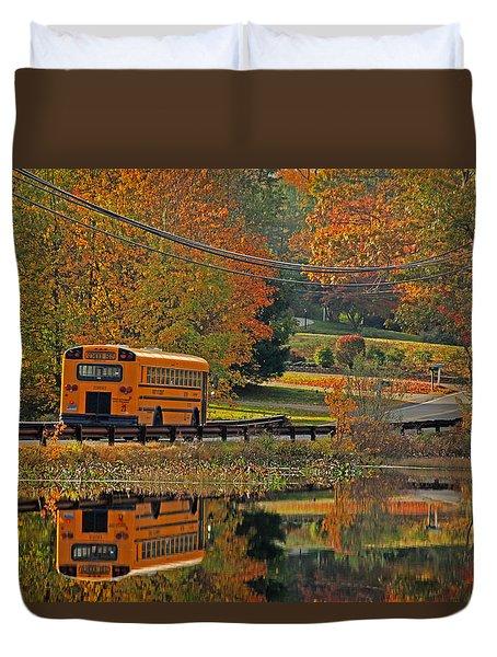 School Days Of Autumn Duvet Cover by Karol Livote