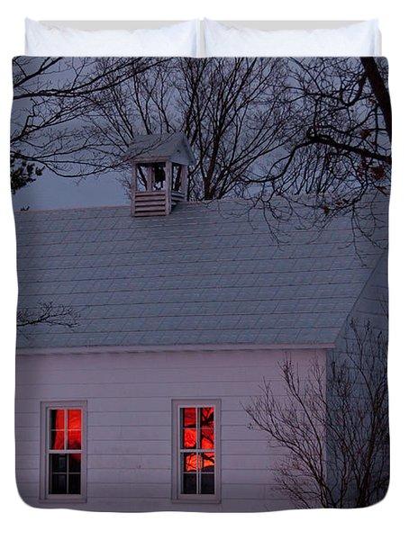 School House Sunset Duvet Cover by Cheryl Baxter