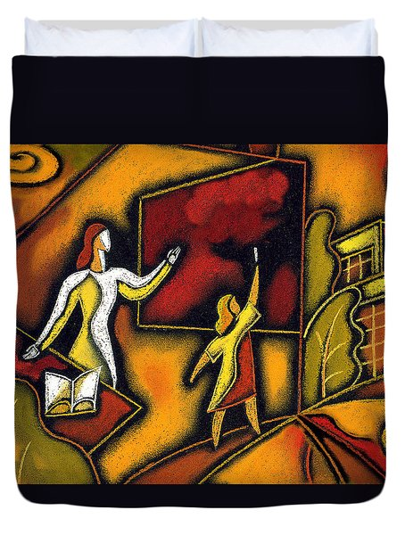 School Duvet Cover by Leon Zernitsky