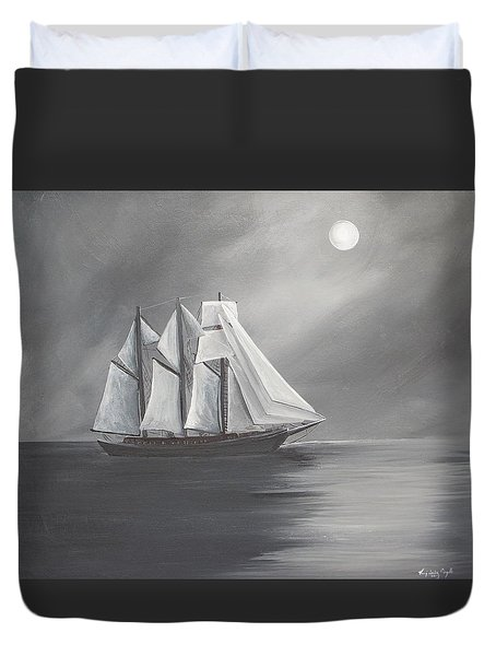 Schooner Moon Duvet Cover by Virginia Coyle