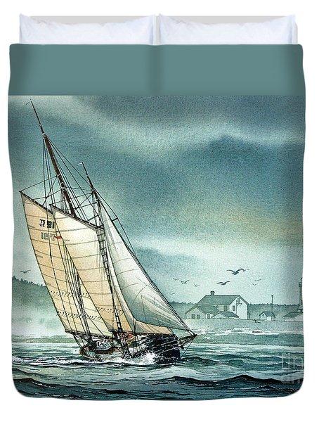 Schooner Voyager Duvet Cover by James Williamson