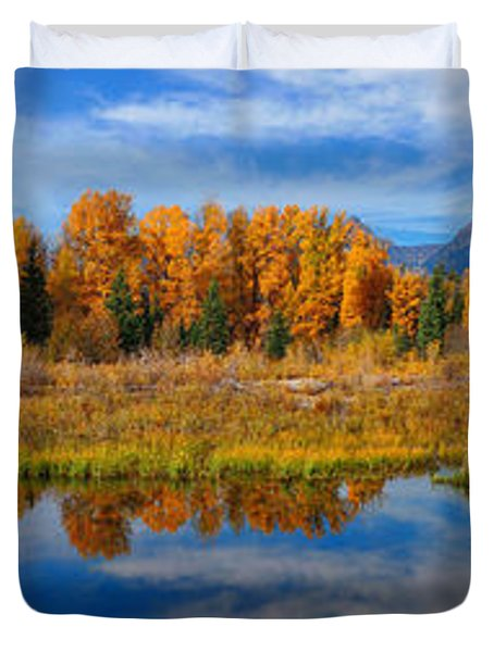 Schwabacher Autumn Reflections Panorama Duvet Cover