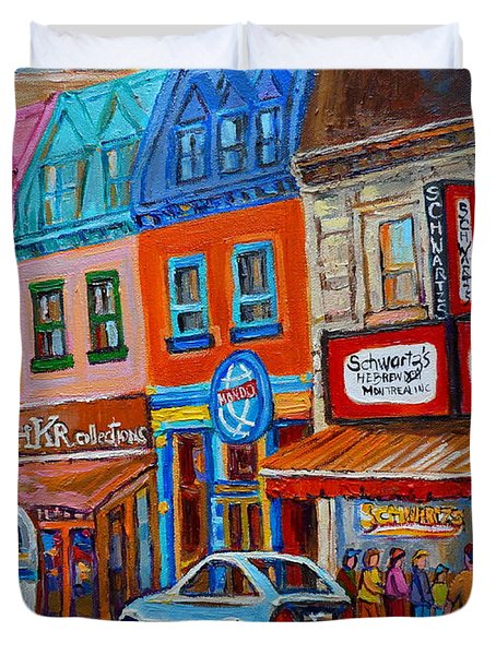 Schwartzs Deli Restaurant Montreal Smoked Meat Plateau Mont Royal Streetscene Carole Spandau Duvet Cover