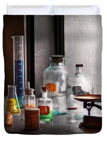 Science - Chemist - Chemistry Equipment  Duvet Cover by Mike Savad