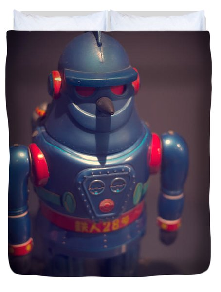 Science Fiction Vintage Robot Toy Duvet Cover by Edward Fielding