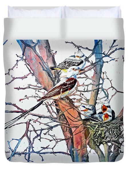 Da149 Scissortailed Flycatchers By Daniel Adams Duvet Cover