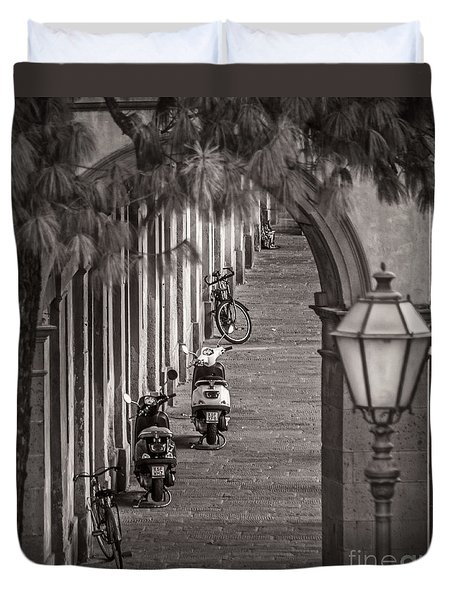 Scooters And Bikes Duvet Cover