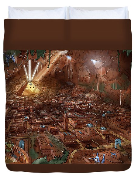 Duvet Cover featuring the painting Scorpion Valley by Reynold Jay