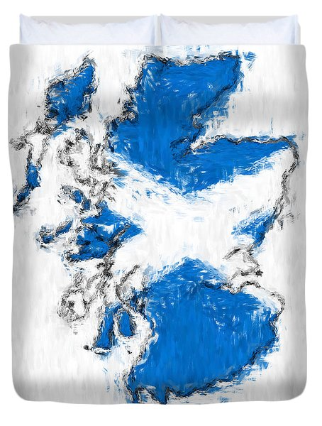 Scotland Painted Flag Map Duvet Cover