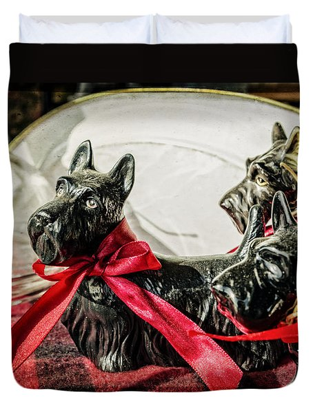 Scotties In The Window Duvet Cover by Caitlyn  Grasso