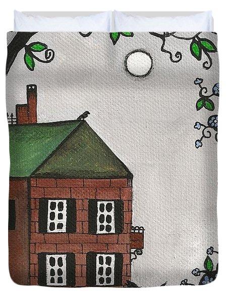 Scotties On An Overcast Day Duvet Cover by Margaryta Yermolayeva