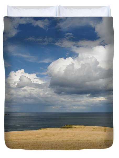 Duvet Cover featuring the photograph Scottish Coastal Wheatfield by Jeremy Voisey