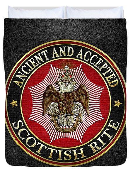 Scottish Rite Double-headed Eagle On Black Leather Duvet Cover