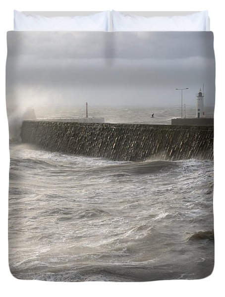 Duvet Cover featuring the photograph Scottish Sea Storm by Jeremy Voisey