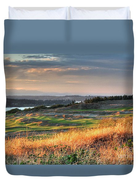 Scottish Style Links In September - Chambers Bay Golf Course Duvet Cover by Chris Anderson