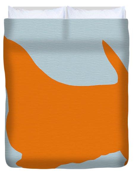 Scottish Terrier Orange Duvet Cover by Naxart Studio