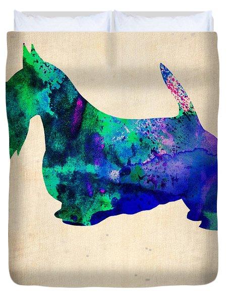 Scottish Terrier Poster Duvet Cover by Naxart Studio