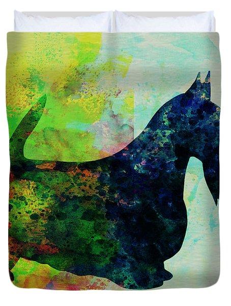 Scottish Terrier Watercolor Duvet Cover by Naxart Studio