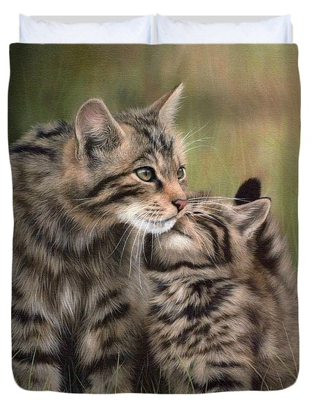 Scottish Wildcats Painting - In Support Of The Scottish Wildcat Haven Project Duvet Cover