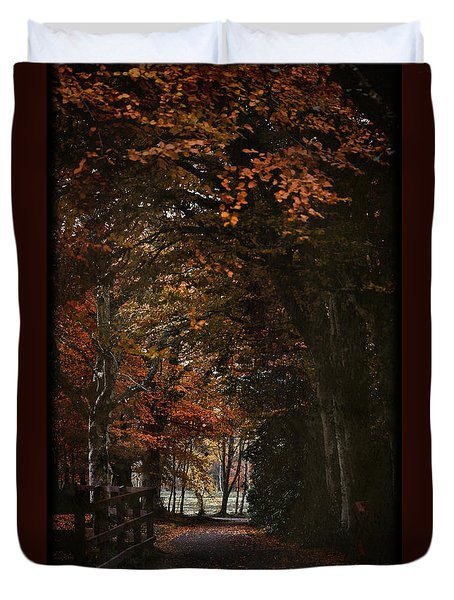Duvet Cover featuring the photograph Scottish Woodland Walk by Liz  Alderdice
