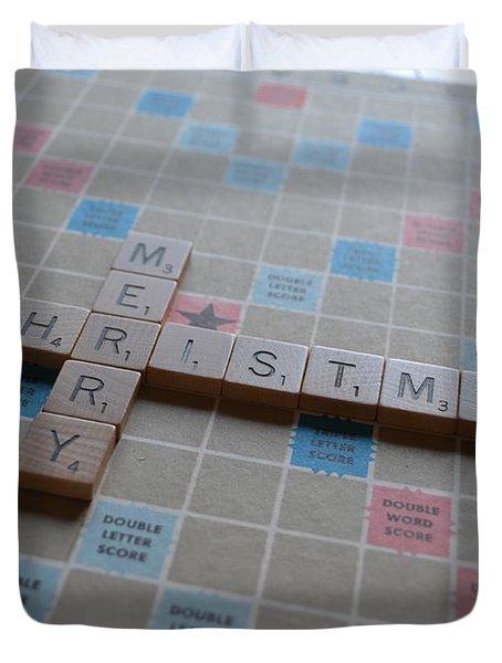 Scrabble Merry Christmas Duvet Cover