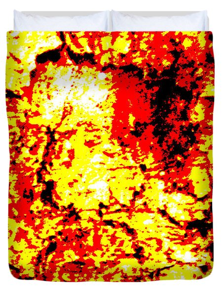 Duvet Cover featuring the painting Screaming Burning Faces by Sir Josef - Social Critic - ART