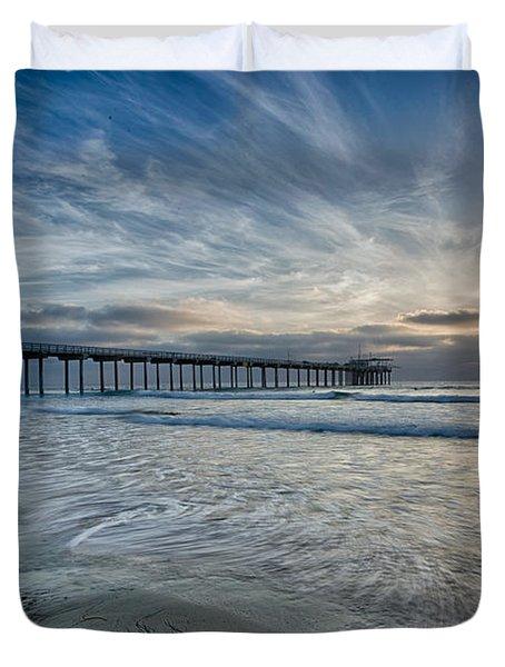 Scripps Pier Sky And Motion Duvet Cover