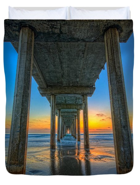 Scripps Pier Sunset Duvet Cover