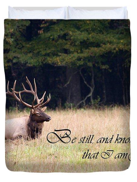 Scripture Photo With Elk Sitting Duvet Cover