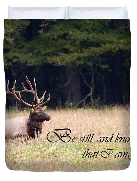Scripture Photo With Elk Sitting Duvet Cover