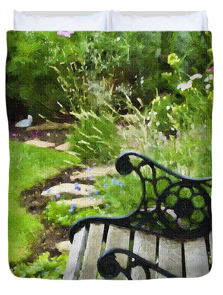 Scroll Bench Garden Scene Digital Artwork Duvet Cover by Sandra Foster