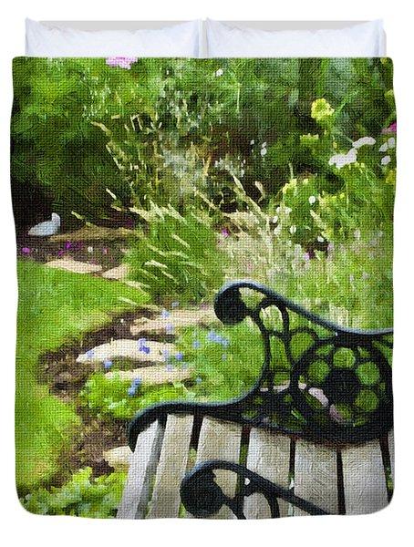 Scroll Bench Garden Scene Digital Artwork Duvet Cover