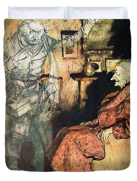 Scrooge And The Ghost Of Marley Duvet Cover by Arthur Rackham
