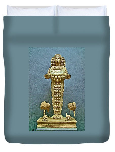Sculpture Of Artemis-goddess Of Fertility In Ephesus Museum-turkey Duvet Cover