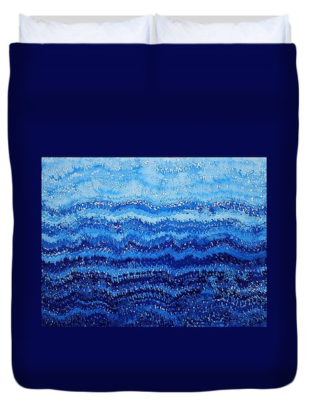 Sea And Sky Original Painting Duvet Cover by Sol Luckman