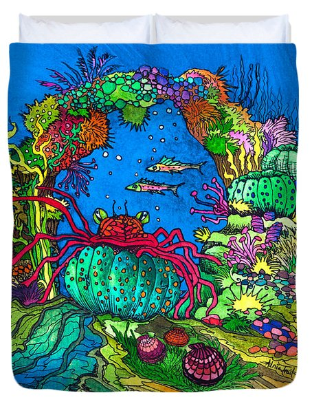 Duvet Cover featuring the painting Sea Arch Garden by Adria Trail