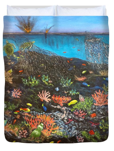 Duvet Cover featuring the painting Sea Assault by Karen Zuk Rosenblatt