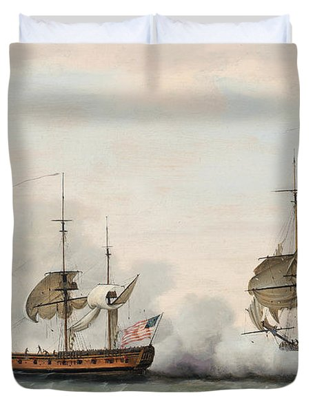 Sea Battle Duvet Cover by Francis Holman