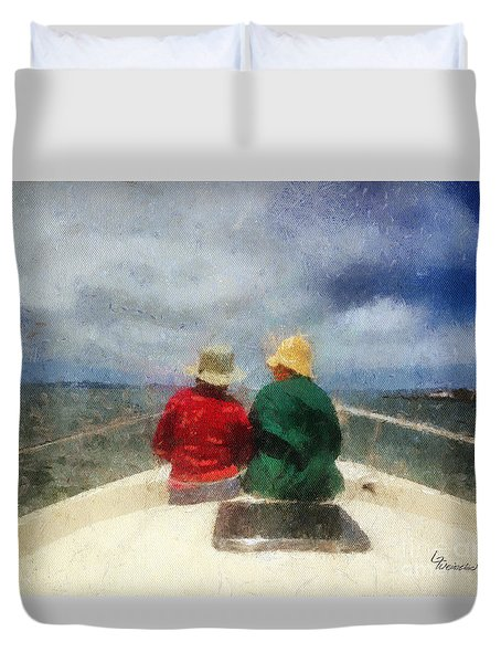 Sea Breeze 4 On The Bay Duvet Cover by Linda Weinstock