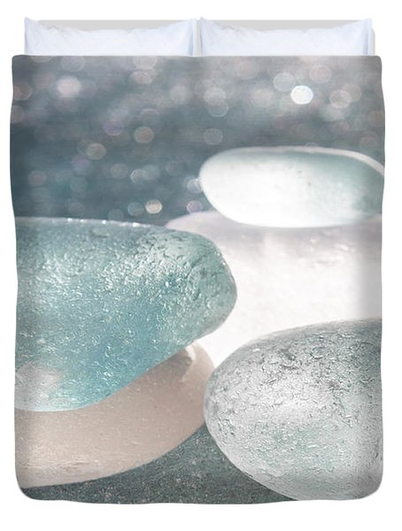 Sea Glass Aqua Shimmer Duvet Cover by Barbara McMahon