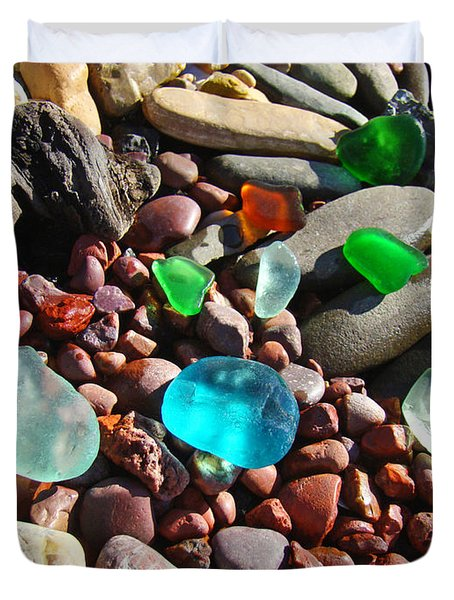 Sea Glass Art Prints Beach Seaglass Duvet Cover by Baslee Troutman