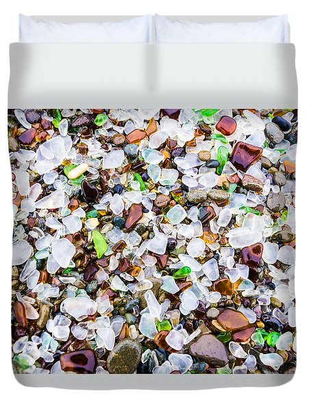 Sea Glass Treasures At Glass Beach Duvet Cover